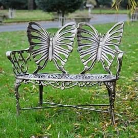 Butterfly Design Two Seater Bench Finished in a Black & Bonze