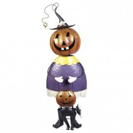 Standing Pumpkin Jester with Black Cat
