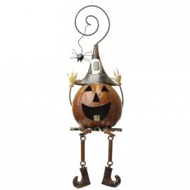 Metal Pumpkin with Spider Shelf Ornament