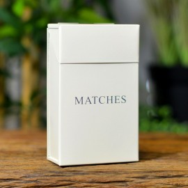 """Cream Metal Match Box with the Text """"Matches"""""""