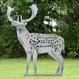 Silver Fallow Stag Silhouette
