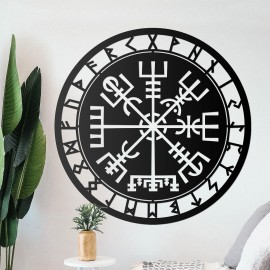 """""""Vegvisir"""" Viking Compass Wall Art in the Living Room"""