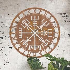 """Vegvisir"" Viking Compass Wall Art in Situ on a Rustic Brick Wall"