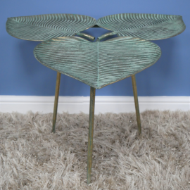 Leaf Style Side Table in a Verdigris