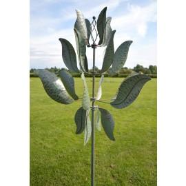 """""""Laurel Magnificence"""" Verdigris Leaf Design Wind Spinner"""