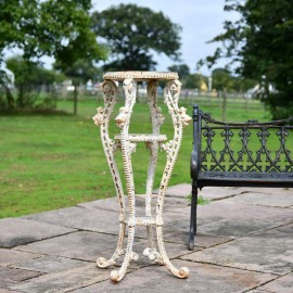 'Millicent' Victorian Aged Cream Cast Iron Side Table Stand - 36cm