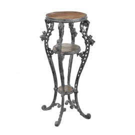 'Millicent' Victorian Aged Black Cast Iron & Wood Side Table Stand - 50cm