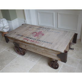 """Vintage Coffee Table in a """"Railway"""" Style"""