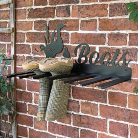 Wall Mounted Duck Iron Boot Holder in Situ Holding Wellys