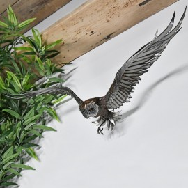 Wall Mounted Flying Owl Sculpture  in Situ on a White Wall