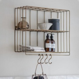 Antique Brass Wall Shelf with Hooks