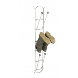 Cream 3 pair boot rack with folding bars