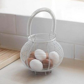 White Wire Egg Basket with Handle