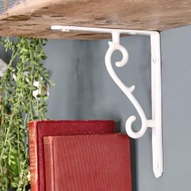 White Scroll Design Shelf Bracket in Situ holding up a Wooden Shelf