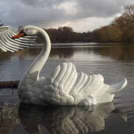 Swimming Swan Garden Sculpture Finished in White