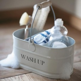 White Wash Up Storage Tidy with Wooden Handle