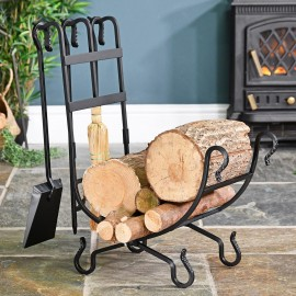 Wrought Iron Log Holder in Situ holding Logs