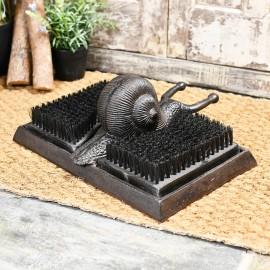 Rustic Snail boot jack & brush by door