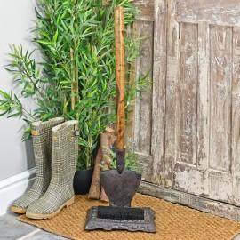Rustic Garden spade boot brush and scraper by door
