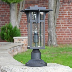 1920's Inspired Entrance Pillar Light in Situ Outdoors