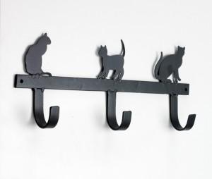 Black Cat Silhouette 3 Hooks rack