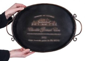 """""""Chablis rouge"""" Vintage styled serving tray"""