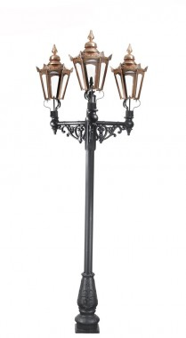 Triple Headed Hexagonal Lamp Post Set