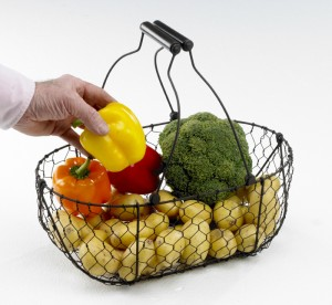 Kitchen garden Collection Wire baskets with wooden handles