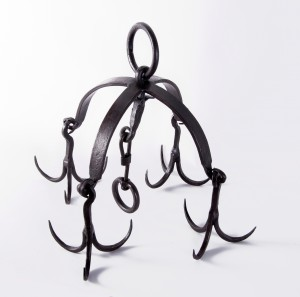 """Hemmingway Grange"" ""Game"" wrought iron hanging rack, with Tudor Styling"