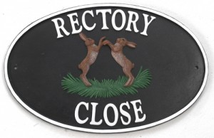 """Boxing Hares"" Cast Iron-Effect House Name Sign"