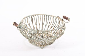 """""""Miss Anatola"""" Wrought iron fruit and vegetable basket with wooden handles"""