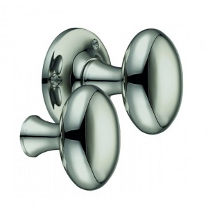 """Milan"" Polished Nickel Oval Rim Knob Pair"