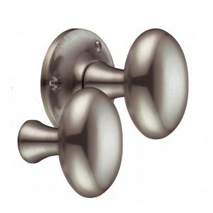 """Milan"" Satin Nickel Oval Rim Knob Pair"