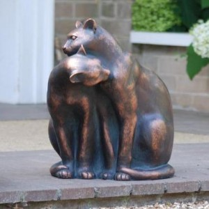 Cats Sculpture Finished in an Aged Bronze