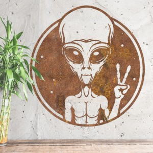 Peace Sign Alien Wall Art in Situ on a Grey Wall