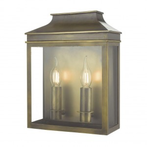 Traditional Dual Light Flush Wall Light Finished in an Antique Brass