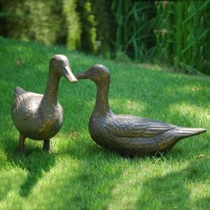 Antique Bronze Finish Duck Garden Sculptures