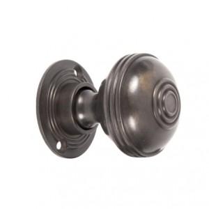 Antique Bronze Ridged Door Handle Set