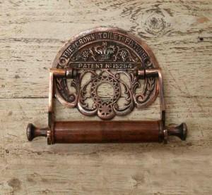 Antique Copper 'Crown' Toilet Roll Holder