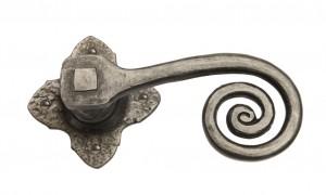 Monkeytail Latch Set on Clover Rose Antique Pewter