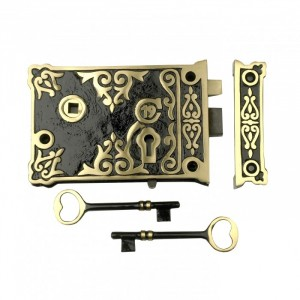 Ornate Victorian Style Rim Lock With Two Keys
