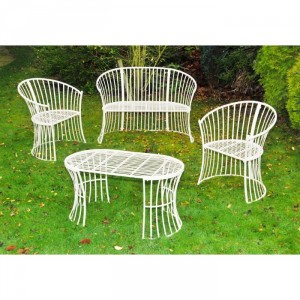 """Avery"" Garden Furniture Set Finished in Cream"