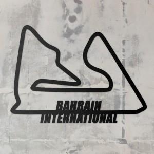 Bahrain International Racing Circuit Wall Art on a Rustic Grey Wall