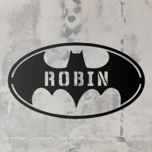 'Batman' Personalised Wall Art on a Rustic Wall