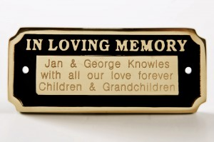 Polished Brass In Loving Memory Bench Sign
