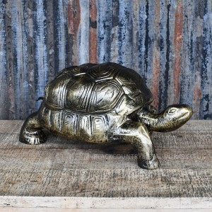 Bronze Finish Metal Tortoise Sculpture