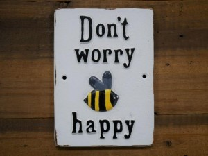 """""""Bee Happy"""" Quirky Iron Sign"""