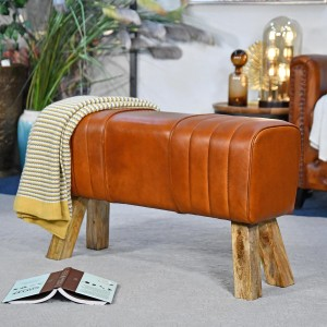 'The Brodie' Mango Wood &Tan Leather Bench