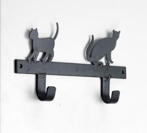 Black Cat Silhouette 2 hooks rack