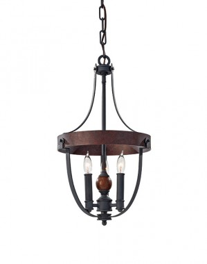 """Elthorp Manor"" Black and Antique Iron Medieval Chandelier"